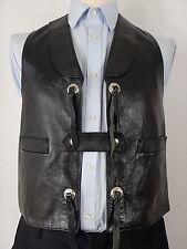 Vtg Little Big Horn Mens Full Black Leather Western Waistcoat Vest Size UK 38