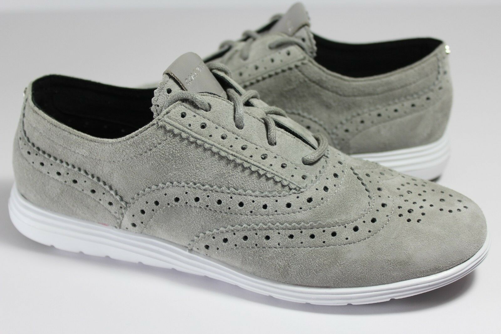 Cole Haan Grand Tour Suede Iron Stone Grey W05596 Oxford shoes Size 5 B R571