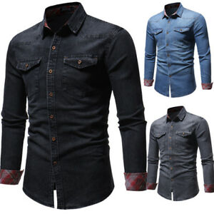 1f4b7234 New Mens Western Double pocket Casual Slim Long Sleeve Denim Jean ...