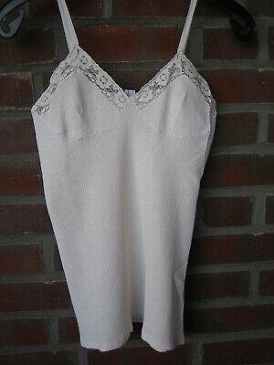 70er Vintage Damen Unterhemd Mit Spitze Und Spagettiträger, Bio Baumwolle, Gr 42 Mangelware