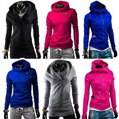 BOLF Damen Sweatshirt Sweatjacke Zipper Hoodie Freizeit  Kapuze MIX 1A1 Fitness