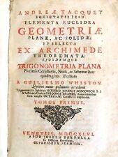 Libro Elementa Euclidea Geometria Trigonometria Illustrato André Tacquet 1746