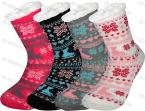 fbd8d613ccba4 Details about Ladies 4.7 Tog Thermal Fleece Socks Sherpa Lining Lounge  Slipper Bed Socks