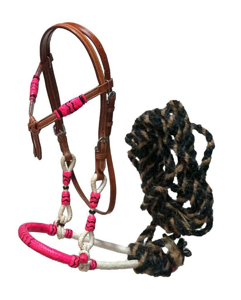Horse Tan Western Headstall Bridle Bitless Mecate Bosal Black Rawhide Accents