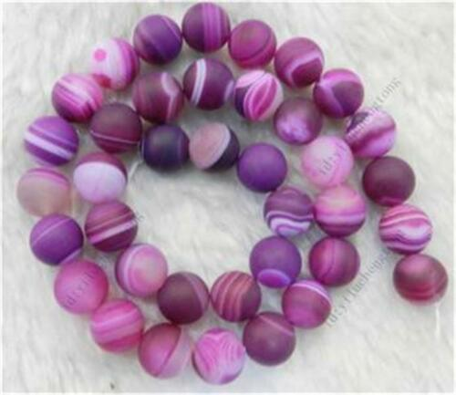 "8mm Matte RED Dream Fire Stripe Agate Gems Round Loose Beads 15/""##HK1065"