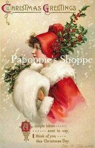 Vintage-Victorian-Girl-Christmas-Fabric-Block-Vintage-Postcard-Clapsaddle