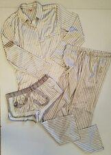 Victoria's Secret Gray White Striped Silky Pajamas Long Sleeves Pants Shorts SP