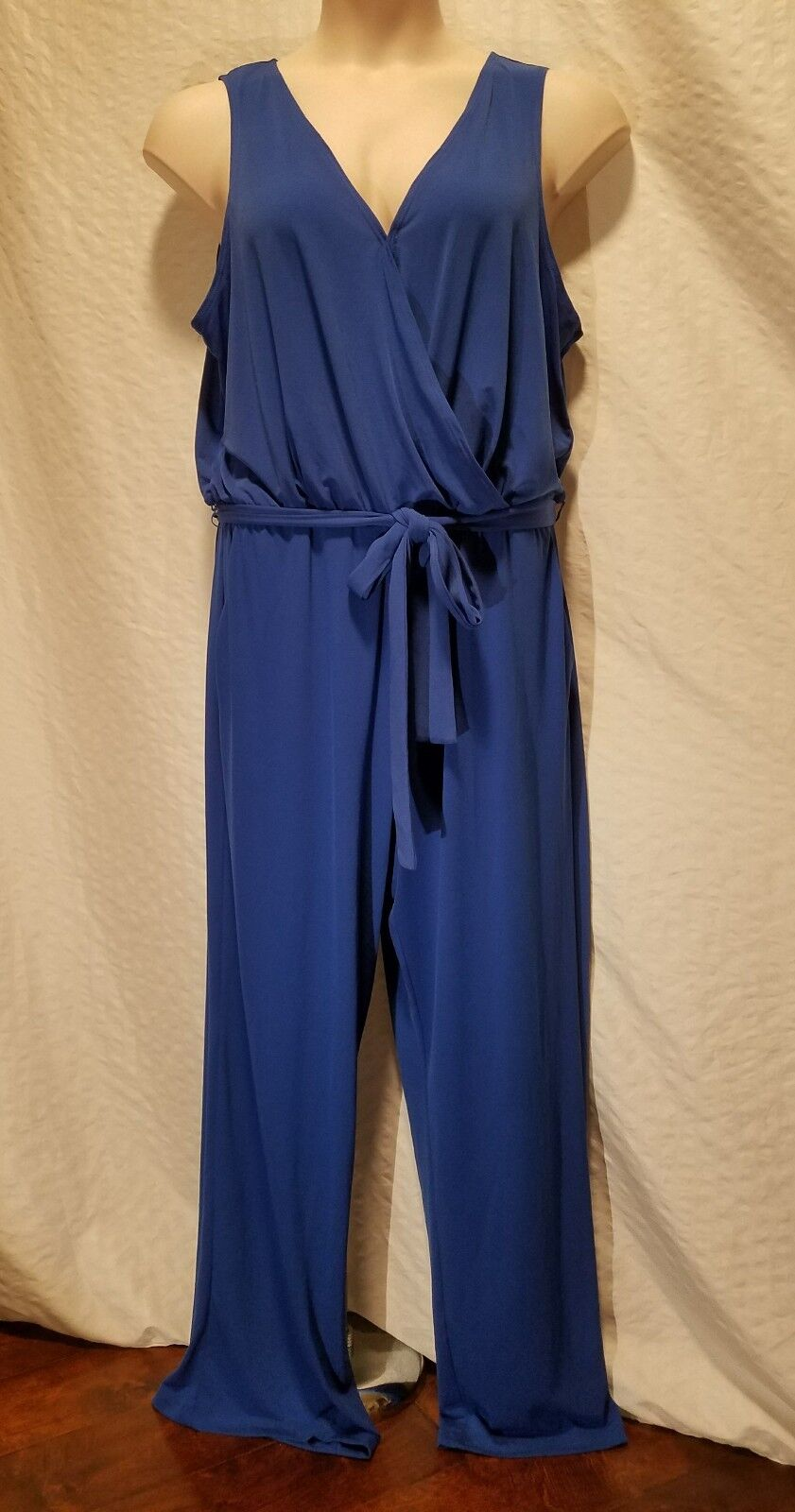 New NY Collection Women's Plus Size 2XP Jumpsuit Romper bluee Wide Leg Sleeveless