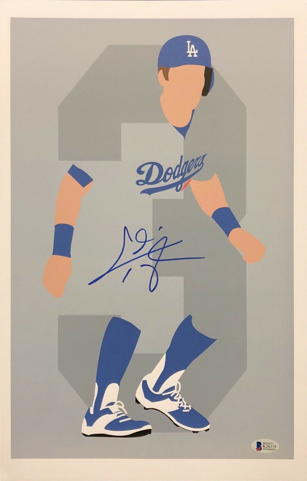 Chris Taylor Signed Los Angeles Dodgers Baseball 11x17 Print BAS Beckett K26116