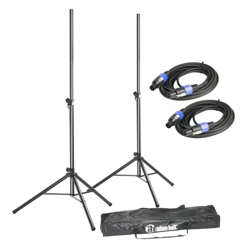 Adam Hall Set: 2x Speaker Stands + 2x 5m Cable + 1x carry bag speaker tripod