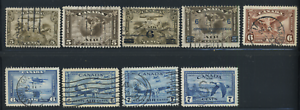 Canada-C1-C9-used-F-to-XF-1928-1946-Airmail-Complete-Set-CV-47-25