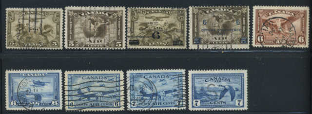 Canada #C1-C9 used F to XF 1928-1946 Airmail Complete Set CV$47.25