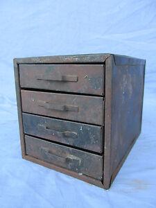 Vintage Industrial Small 4 Drawer Metal Parts Bin Organizer