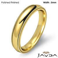 Solid Men Wedding Ring Dome Milgrain Plain Band 5mm 18k Gold Yellow 8.1g 10-10.7
