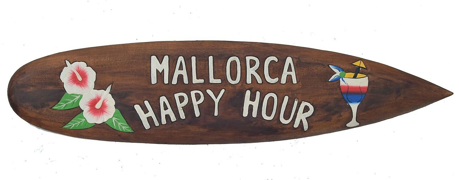 Decor Surfboard Mallorca Happy Hour in 100cm Surf Board in Wood