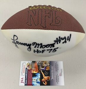 "Lenny Moore Signed Mini Wilson NFL Football ""HOF 75"" #24 Colts Autograph JSA"