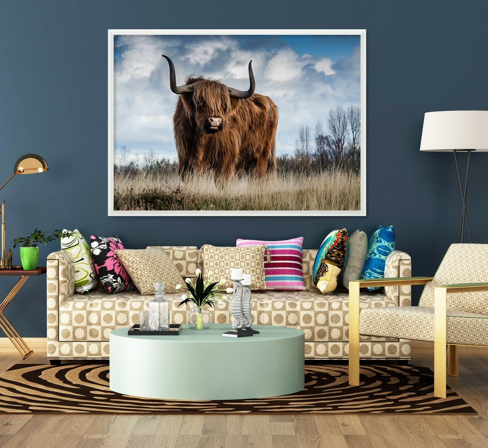 3D Lawn Cattle 64 Fake Framed Poster Home Decor Print Painting Unique Art Summer