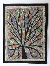 """SML ORIGINALE madhubani mithila DIPINTI """"Albero della vita"""" fatto a mano indiano Folk Art"""