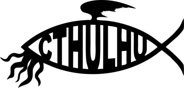 Cthulhu Fish - Car Window Laptop Vinyl Decal Sticker Jesus Parody
