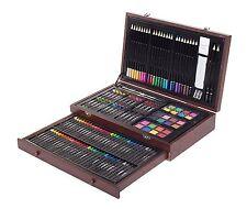 Drawing Art Set 143 Color Pencil Pastel Charcoal Sketching Eraser Sharpener Wood