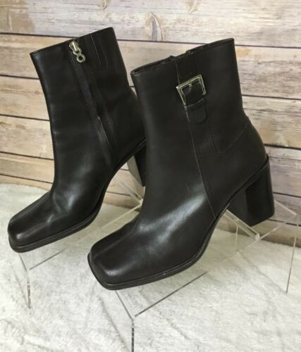 Tommy Hilfiger 6.5 Block Heeled Booties Brown Leat