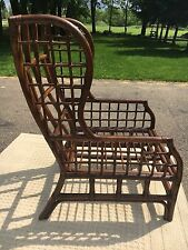 Vintage Rattan High Back Chair Rare Rattan Wing Back Chair Decorative Accent