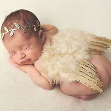 Gold Baby Girls Newborn Angel Wings + Headband Costume Photo Prop Outfit