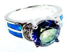 Silver 925 SF Size 8 REGAL Ring Blue Lab Opal /& 10*8mm Blue Sapphire /& Topaz
