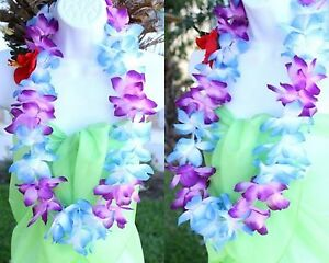 Six Hawaiian Silk Flower Lei Luau Party Hula Necklace Blue
