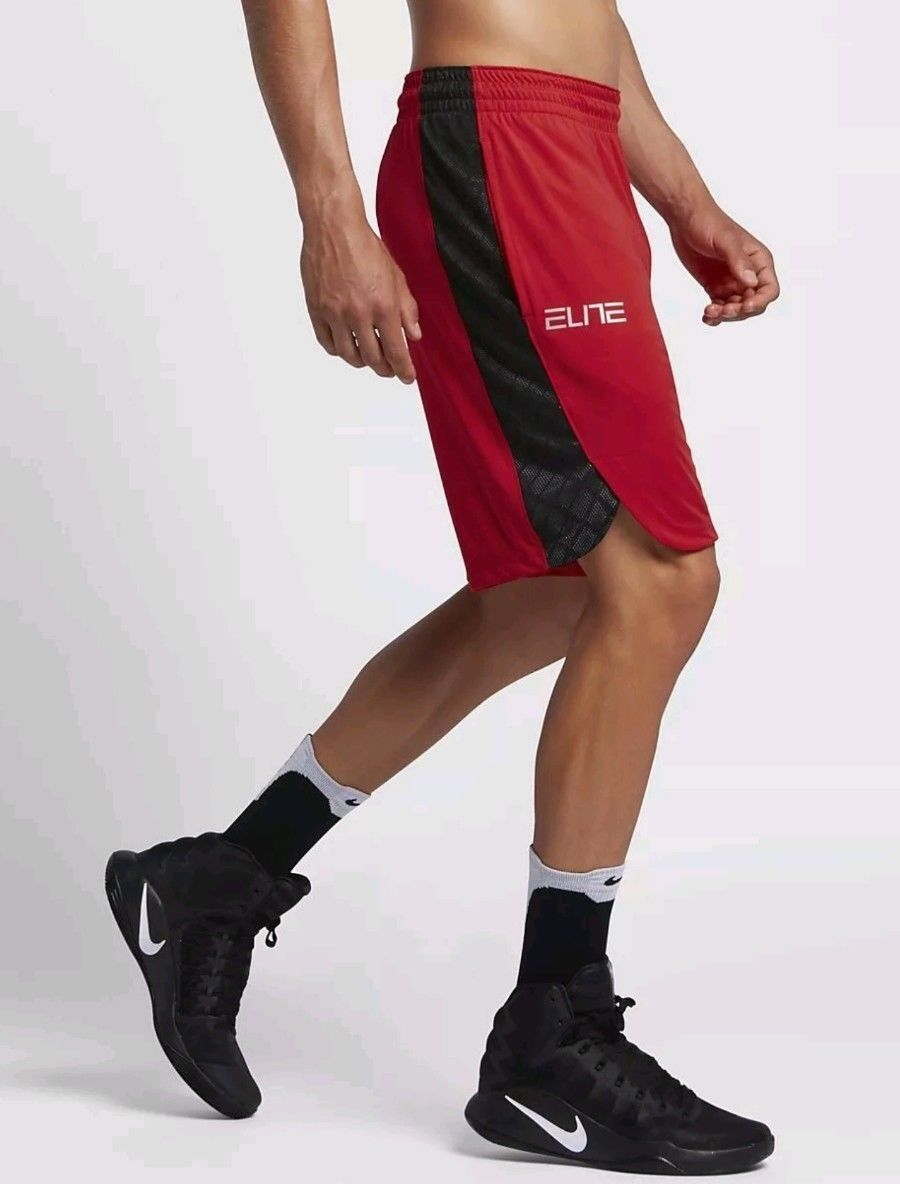 f3ea96450552 Nike Elite Sollevamento 9 Uomo Drifit Basket Palestra Palestra Palestra  Shorts Rosso Nero 628ce5