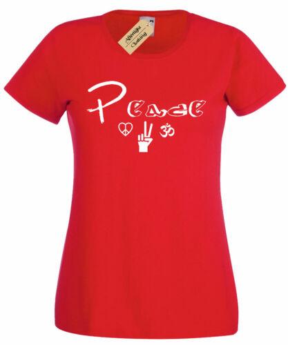 Womens Peace Graphic Tee T-Shirt Love Hippie Music ladies top gift