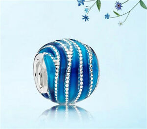 Fashion 925 Silver Crystal Blue Charm European Beads Fit Necklace Bracelet DIY ! Jewelry & Watches