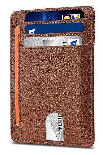DB4 Buffway Slim Minimalist Leather Wallet RFID Blocking Brown FAST SHIP