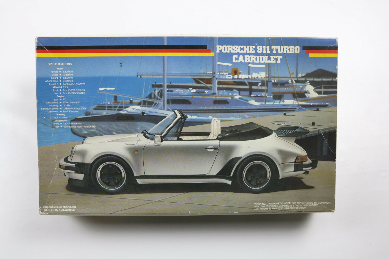VINTAGE FUJIMI PORSCHE 911 TURBO CABRIOLET 1989 1 24 AUTO CAR PLASTIC KIT JAPAN