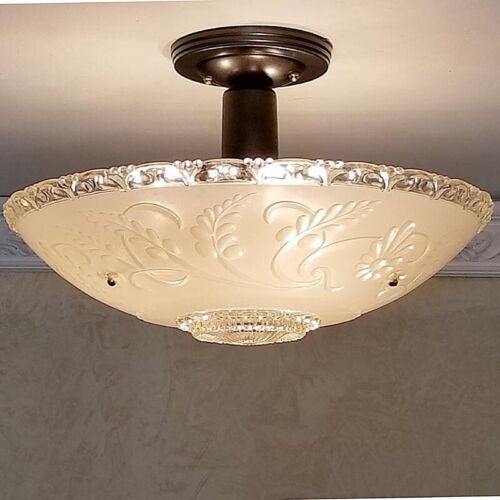 485z Vintage Ceiling Glass Light Lamp Fixture Chandelier Lights antique 1 of 2