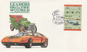St Lucia 4978 - 1984 CARS - ASTON MARTIN $2 IMPERF PAIR on FIRST DAY COVER