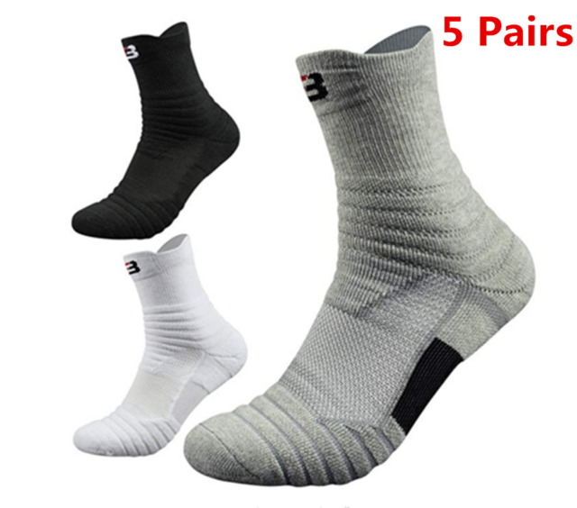 Mens Dri-Fit Sport Middle Ankle Socks Basketball Cotton Casual Socks Lot