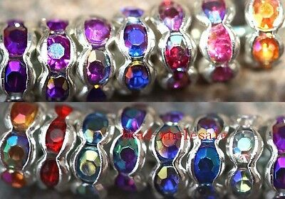 100pcs Acrylic Crystal Rhinestone Round Beads Spacer 6mm AB Color Findings DIY