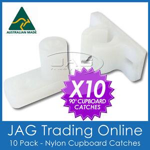 10 x 90° ANGLED NYLON CUPBOARD CATCH - Boat/Caravan/RV/Camper/Door/Drawer/Latch