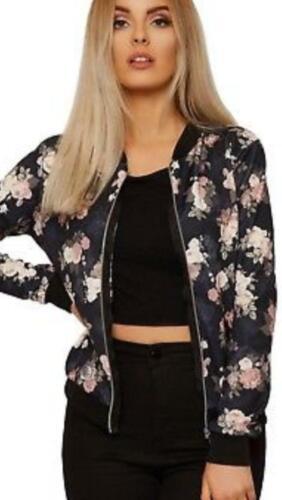 Womens Ladies Zip Up Long Sleeve Floral Flower Biker Jacket Top Coat Size 8-18
