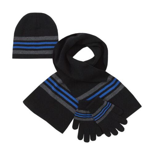 Boys Striped Woolly Hat Gloves Winter Warm Set Kids Xmas Gift Size Scarf