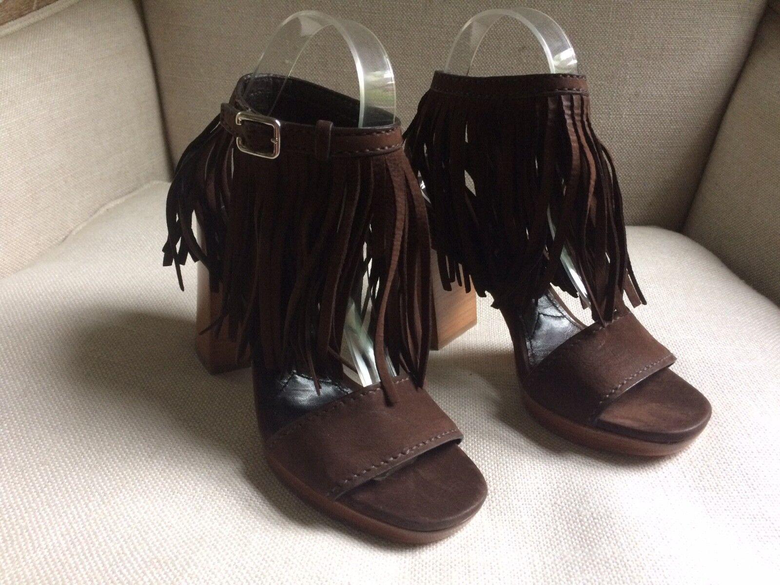 Prada Sandals Sandals Sandals bspringaaa Fringaae mocka Ankle Strap Block klackar Boho EU 36 US 6, NEW  bara för dig