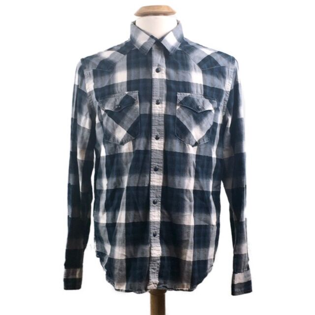 4151a5e304 American Eagle Outfitters AEO Vintage Fit Pearl Snap Blue Plaid Shirt Size  Large