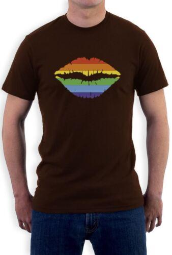 Gay Pride Rainbow Flag Men Lips Graphic Love No Limits T-Shirt Equality S 5XL