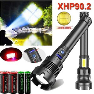 Super Bright XHP90 2X 26650 Powerful LED Flashlights USB Rechargeable Zoom Torch