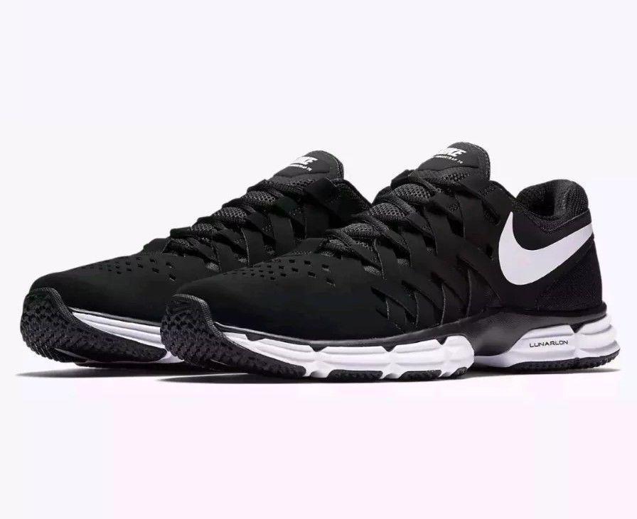 Nike Men's Size 12 LUNAR FINGERTRAP TR Running shoes 898066 001 Black White NEW