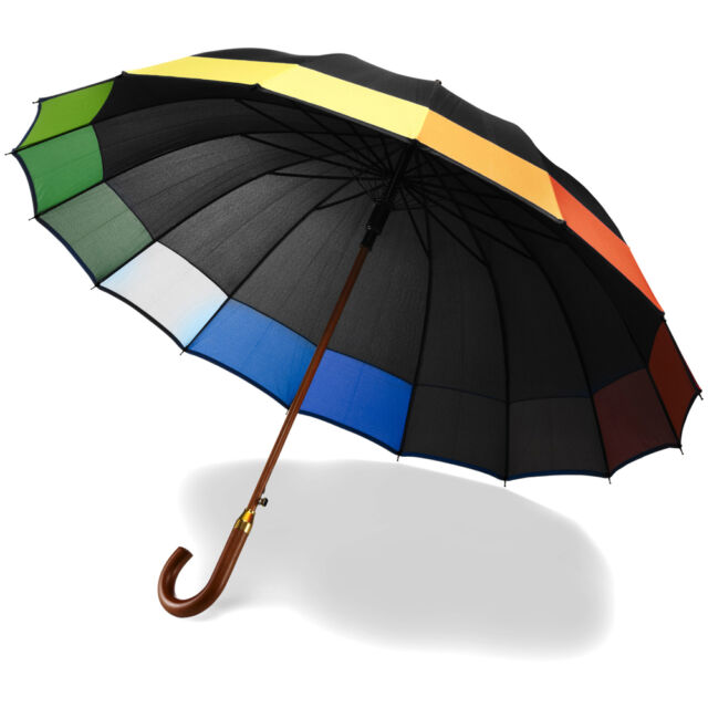 "Large 40"" 16 Panel Black & Rainbow Umbrella - Wedding Automatic Crook Handle"