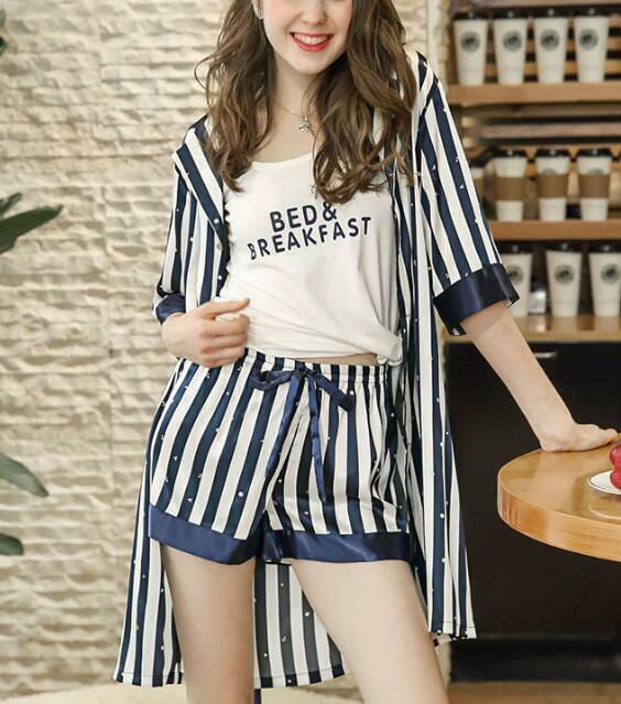 Three Pieces Women's Silk Shower Bathrobe Nightgowns Sleepwear Striped Pajamas h
