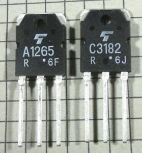 1pairs or 2PCS Transistor TOSHIBA TO-3P 2SA1265//2SC3182 A1265//C3182