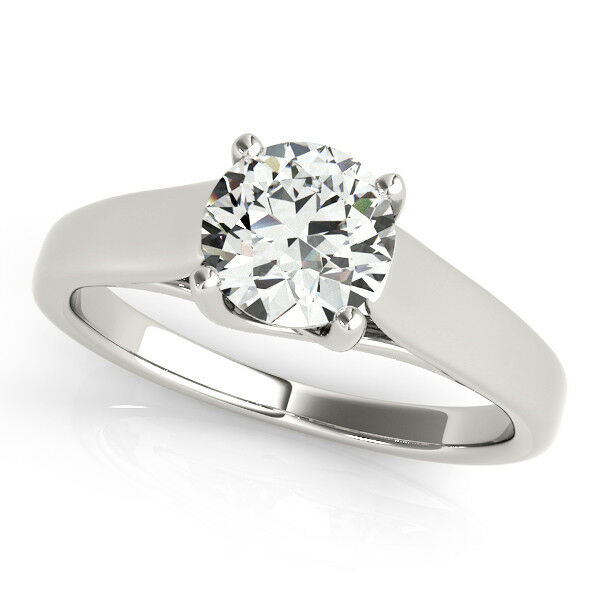 1.00 Ct Round Solitaire Moissanite Engagement Ring 14K Real White gold Size 5 6